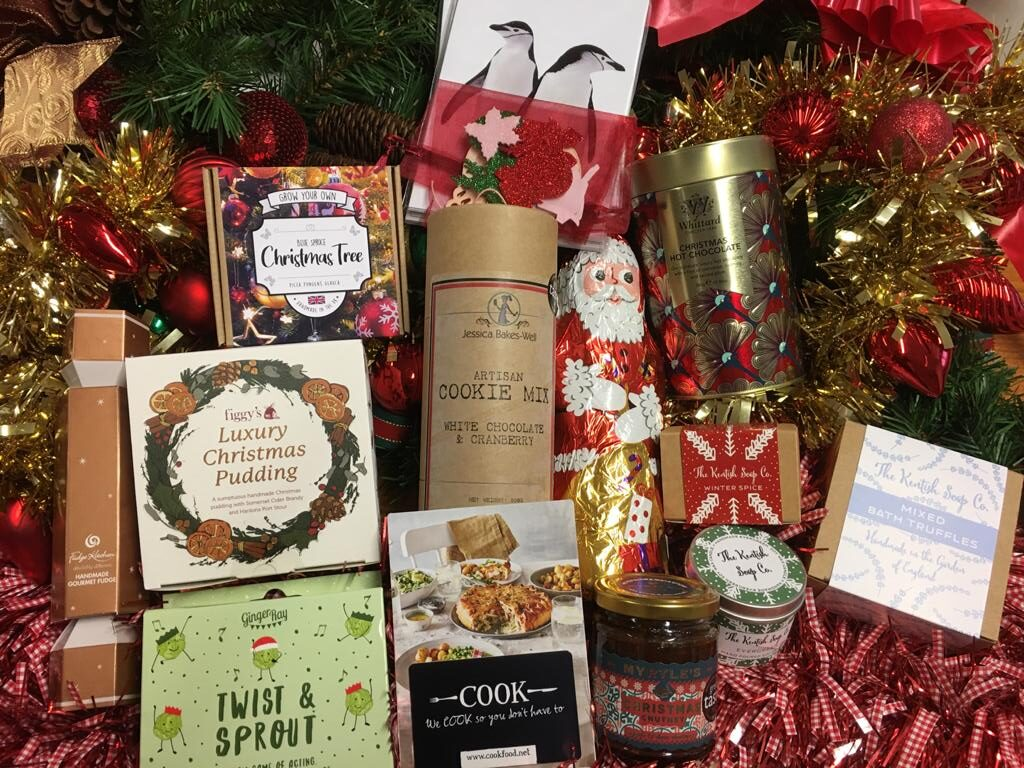 Hamper full of Christmas gifts